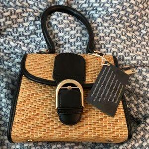 NEW Straw & Black Satchel Crossbody Bag Replikate